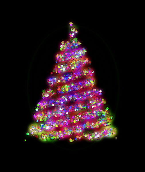 Glowing Christmas Tree 1: A glowing Christmas tree with baubles, lights and snowflakes, against a black background. You may prefer:  http://www.rgbstock.com/photo/2dyX2mp/  or:  http://www.rgbstock.com/photo/2dyVQYr/Abstract+Christmas+Tree