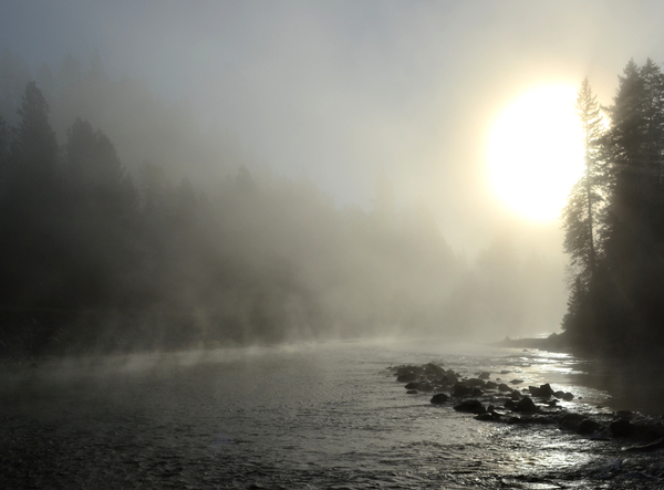 Dawn on the river 2: catching the first morning light on the river with fog