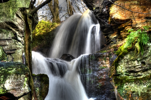 Waterfall 1: Lumsdale falls in derbyshire, UK