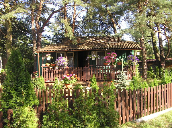 Summer house: A summer camp house near Zalew Zegrzynski, Poland.