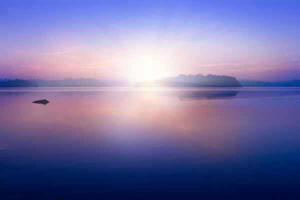 Sunrise on Lagoon: Dawn on the Kumarakanda Lagoon, Sri Lanka
