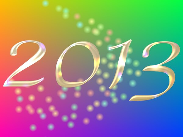 2013 h: Glass or metallic effect 2013 banner against a rainbow backdrop and lights. Lots of colour and a feeling of celebration. Perhaps you would prefer these: