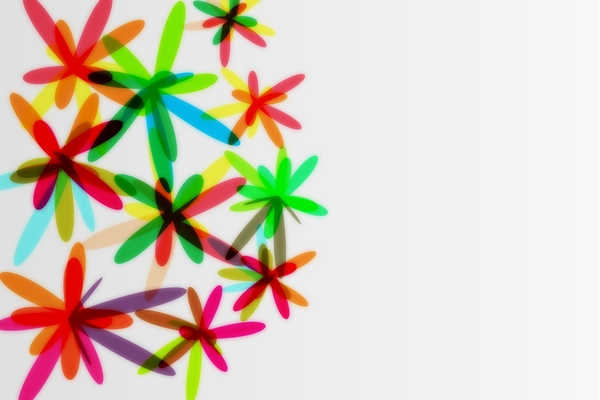 Abstract Background: Colorful flowers on the silver background