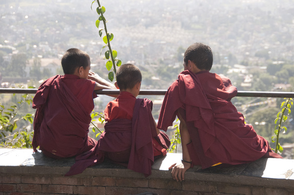 Three young monks in Kathmandu: no description