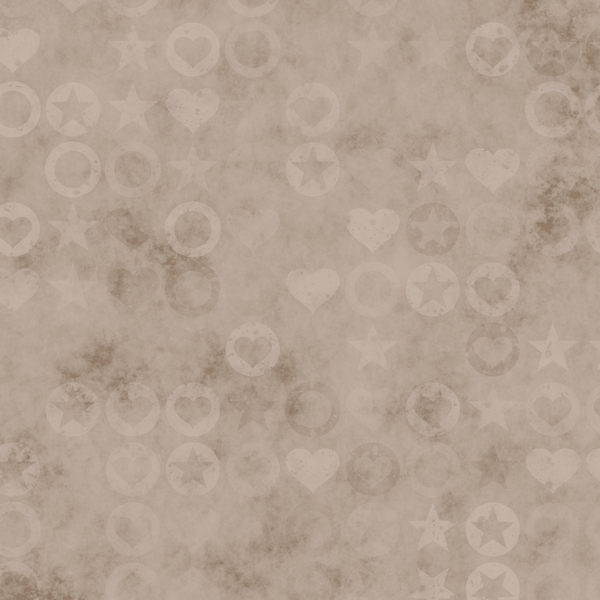 Sepia Pattern: A stamped sepia pattern of hearts, circles and stars. Very high resolution.