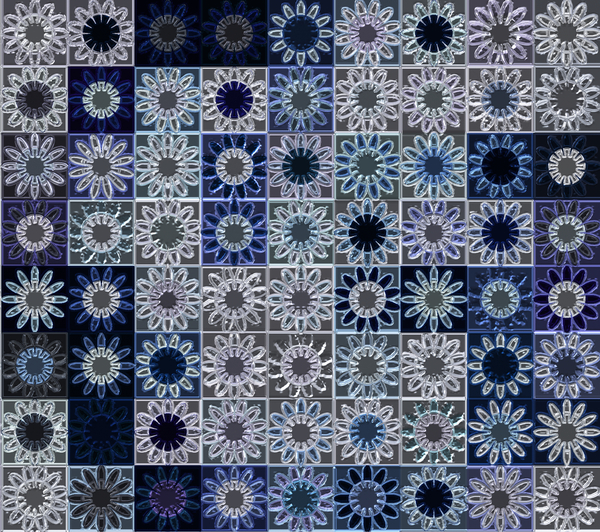 Glass Squares: A pattern of glass or plastic squares with flowers or daisies in shades of white, blue and navy.