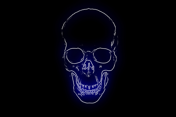 Skull 7: Spooky halloween image made from a public domain image of a skull. Blue neon light against a black background and plenty of copyspace. Could be used as an invitation.