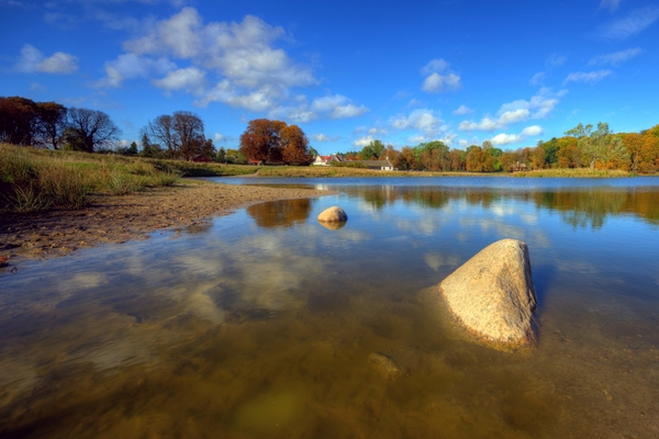 Autumn pond - HDR: Pond with an island in autumn colours. The image is HDR.