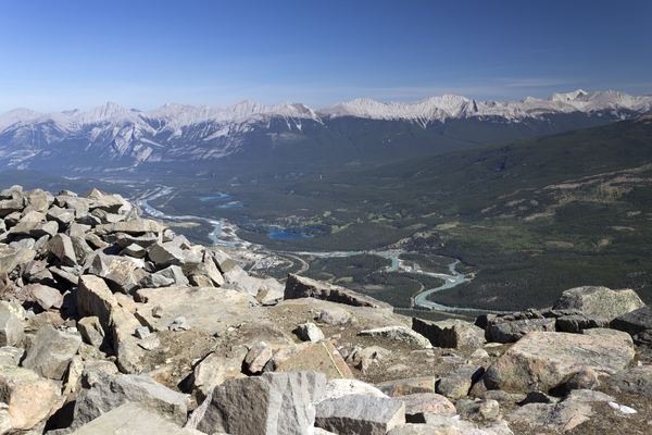 Rocky Mountain valley: A river valley in the Rocky Mountains near Jasper, Canada.