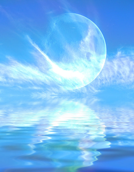 Giant Moon 5: A giant moon with spectacular clouds reflected in the water.