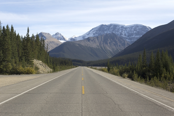 Mountain road: The Icefields Parkway road, western Canada.