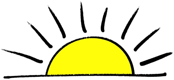 Sunrise, Sunset: Drawing of sun at the horizon