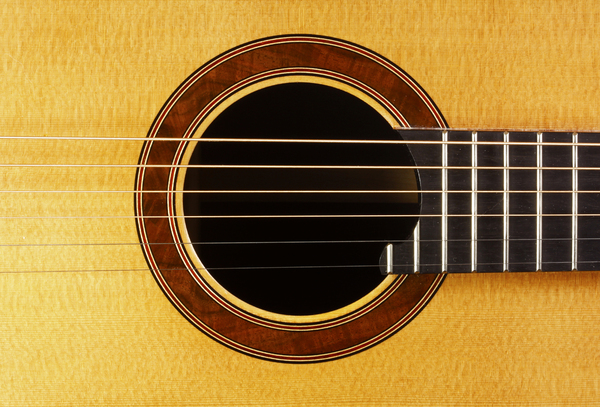 Custom Made Guitar Hole Detail: The body hole and inlay detail. Also shows the beautiful spruce wood grain.