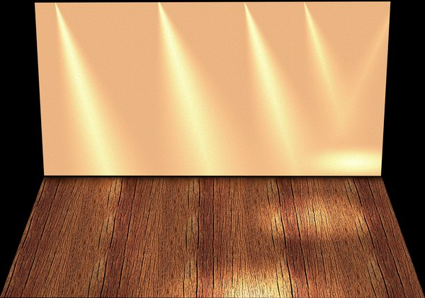 Stage Backdrop 5: A wall and floor with lighting effects that could be a stage, shelf or empty room.