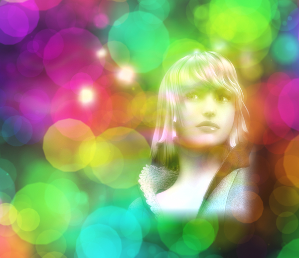 Pretty Woman 1: A pretty woman's face against a bokeh and textured background in rainbow colours. You may prefer thishttp://www.rgbstock.com/photo/nTSnlIi/Pictures+of+You+1  or this:   http://www.rgbstock.com/photo/ncNIQTE/Vintage+Woman