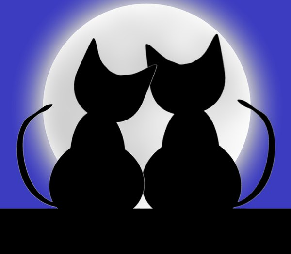 Valentine Cats 1: Two cats in love silhouetted against a big moon. Can illustrate a lot of things, including love, valentine's day, anniversary, honeymoon, etc.