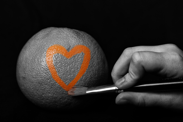Valentine Heart: Heart on an orange