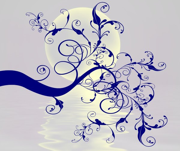 Swirly Branch: A swirly branch silhouetted against a moon and water, in classic blue and porcelain colours. This has been made from a public domain image but my resulting image is copyrighted to me.
