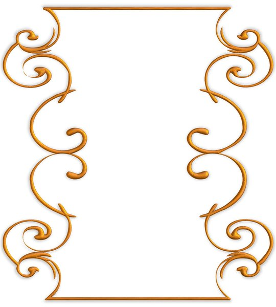 Golden Ornate Border 5: A golden ornate border or frame on a white background. Very elegant and old fashioned in a classic style. Made from a public domain image.