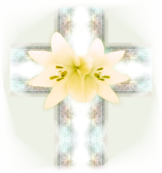 Easter Decoration 3: A cross shape with lillies in beautiful colours and vignetted.
