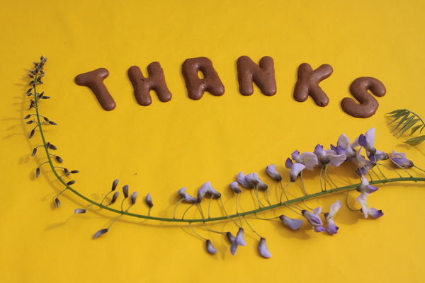 Thanks: Thanks, with flower