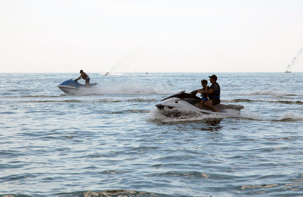 Personal Watercraft: Personal watercraft on the ocean.