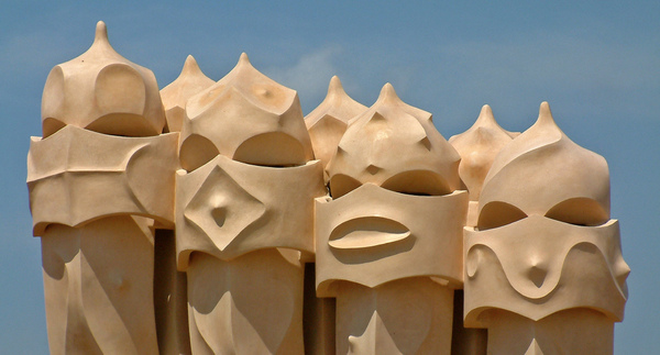 La Pedrera Rooftop, Barcelona: The iconical chimneys of the Casa Mila building, declared a World Heritage site by UNESCO.