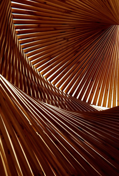 angular perspectives1: abstract wooden angular  structure