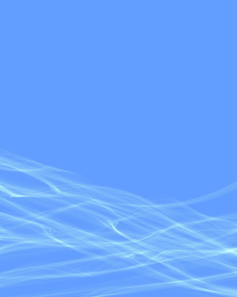 White Waves on Blue 2: White waves of smoke or gossamer against a plain blue background. Tall rectangle shape.