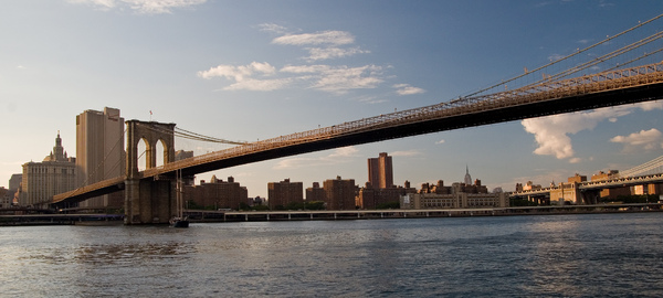 Brooklyn Bridge, NY: View of Manhattan from Brooklyn, in 2009