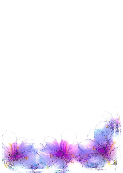 Abstract Fairy Iris Border 2: A grungy floral border or frame of fairy irises on a white background with a grungy border. Plenty of copyspace for your input. You may prefer this:  http://www.rgbstock.com/photo/mGnhxWU/Fairy+Iris  or this:  http://www.rgbstock.com/photo/2dyVQ5h/Floral+