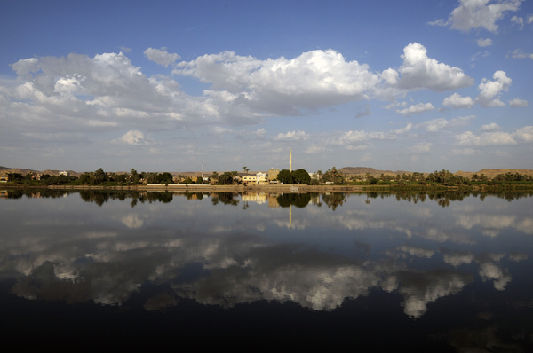 Clouds in the water: Reflections in the Nile, Egypt.