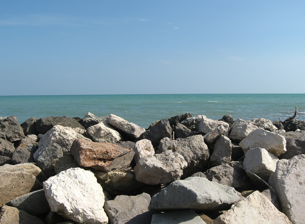 rocks on the sea: rocks on the sea, near Bibiome, Northern Italy