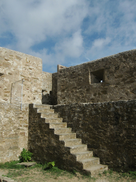 ancient stairs: stairs of a medieval castle near Populonia, Tuscany, Central Italy
