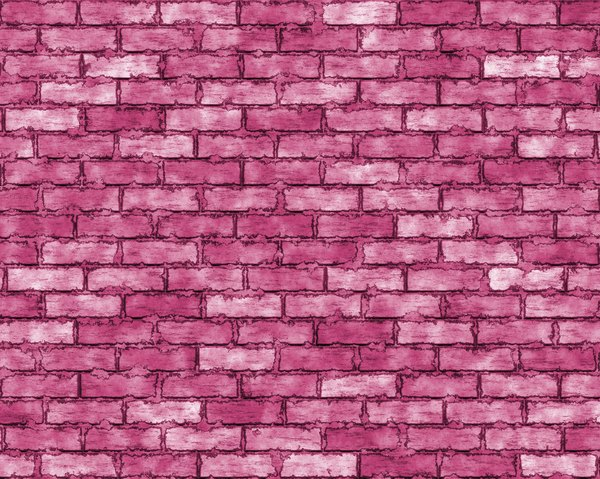 Coloured Brick Wall 2: A brick wall in shades of red and pink, with grungy mortar. High resolution image.