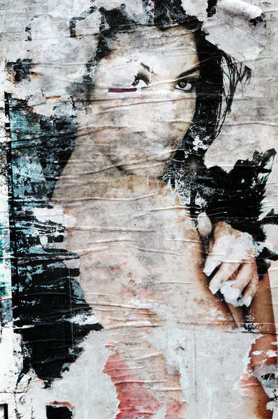 Urban portrait: Peeled poster. urban mona lisa