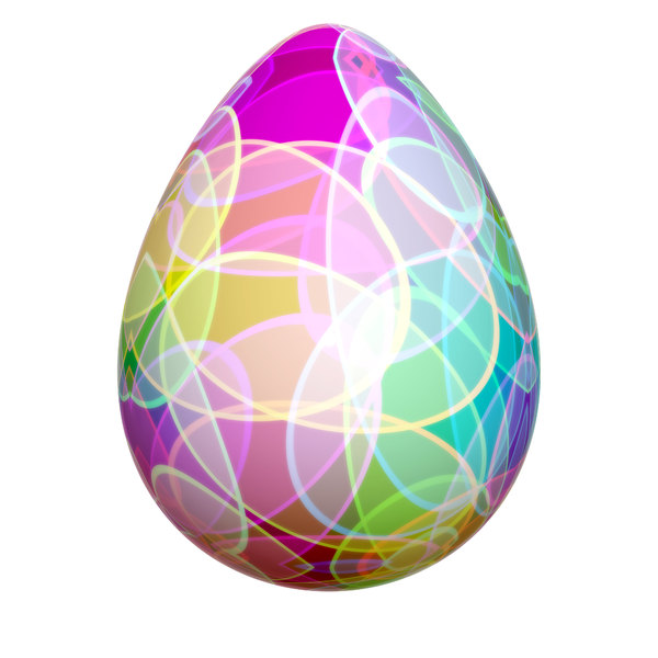 Decorated Egg 3: A brightly decorated easter egg in a bright, colourful pattern.