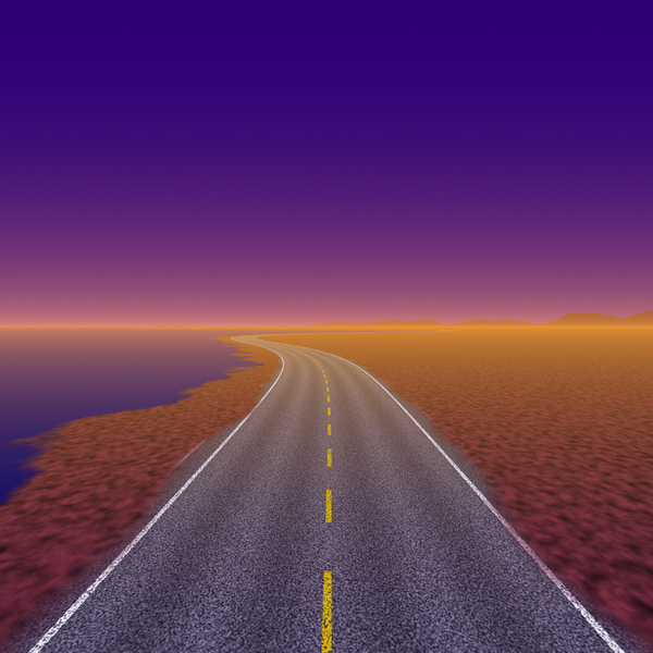 Moving On 5: An empty highway running along the coast, with a clear sky. Purple and orange tones.