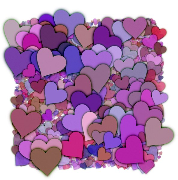 Hearts Texture 3: A 3d cluster of decorative hearts which makes a great texture, fill, stand-alone image or background.