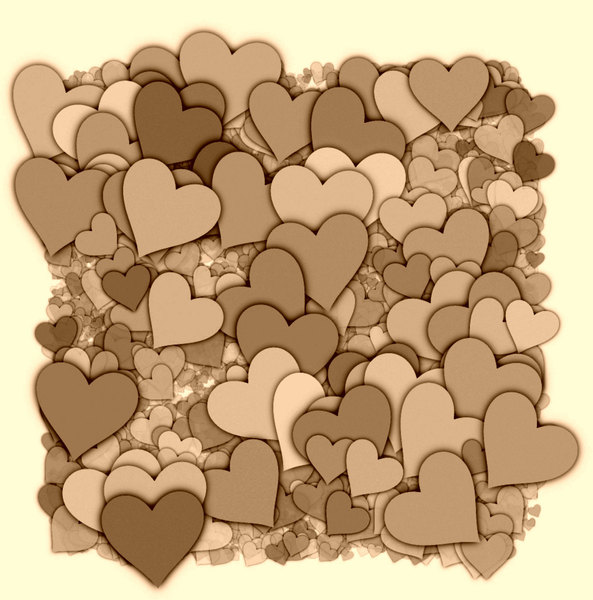 Hearts Texture 1: A 3d cluster of decorative hearts which makes a great texture, fill, stand-alone image or background.