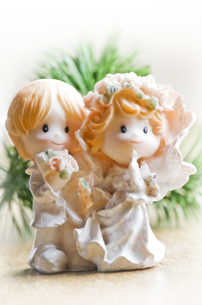 Cute wedding couple: Tiny wedding couple close up