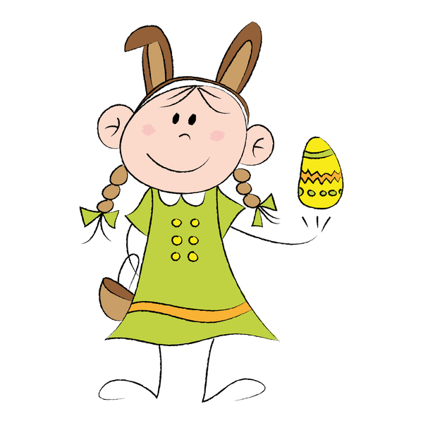 Girl with Easter egg: Drawing of a cute little girl with an Easter egg and Easter bunny ears