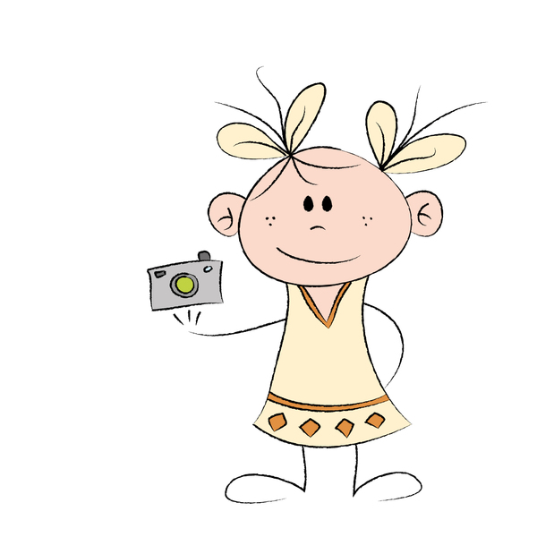 Girl with camera: Drawing of a cute little girl with a photo camera