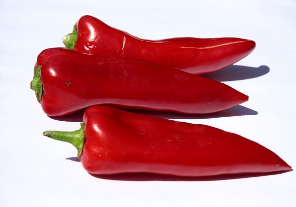 Sweet red  pepper: Three red peppers
