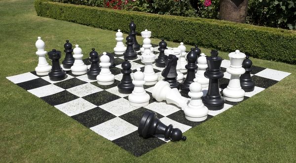 Giant chess set: A giant chess set in a garden in England.