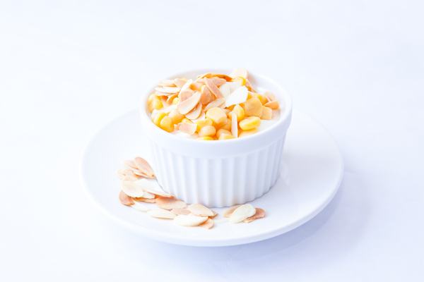 Yoghurt Salad 1: Photo of yoghurt salad with sweet corns and toasted almonds
