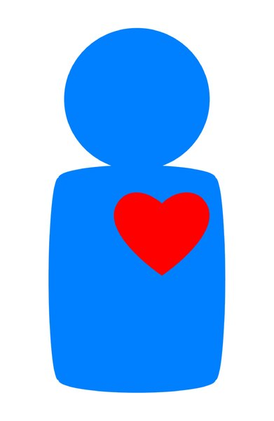 Heart Health: A blue figure with a red heart. Can represent love, bravery or heart health.
