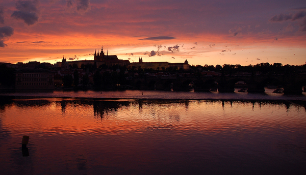 Sunset in Prague 1: The mighty castle in Prague durin g a long afternoon...