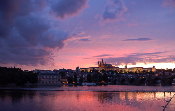 Sunset in Prague 3: The mighty castle in Prague durin g a long afternoon...