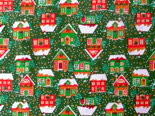 Xmas houses background: Christmas theme fabric sample